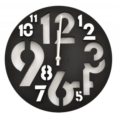 RELOJ PARED NUMEROS/RELIEVE NEGRO