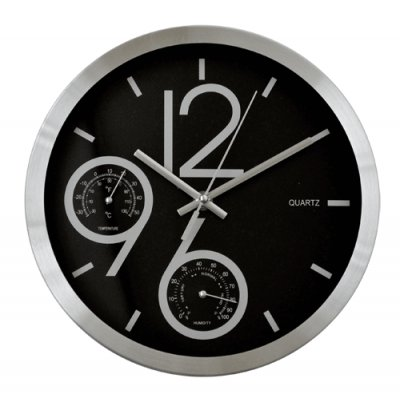 RELOJ PARED CROM/TEMP/HUMED BLACK