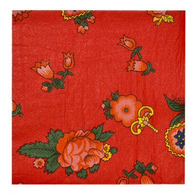 PACK X12 PAQUETES SERVILLETAS RED FLORAL